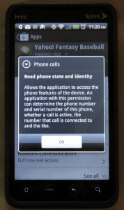 Yahoo! Fantasy Baseball App Permissions